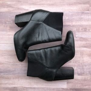 BCBG Lillyan Black Leather Booties Size 8.5